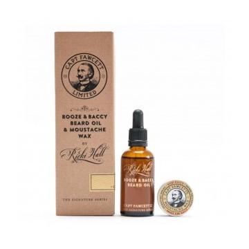 Captain Fawcett Booze & Baccy Beard Oil & Moustache Wax Gift Set Barzdos priežiūros rinkinys, 1vnt.