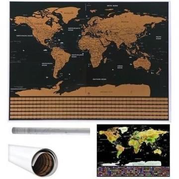 Nutrinamas pasaulio žemėlapis su vėliavomis 82x59cm